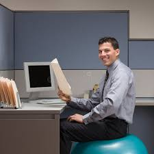 Exercise At Desk Job Businessman Sitting On Exercise Ball At Desk Stock Photos Image