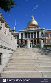 stairs leading up to the massachusetts state house in boston stock