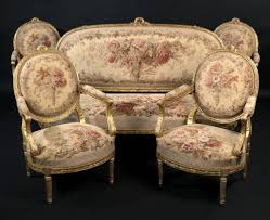 canape louis xvi a and important louis xvi style giltwood salon suite comprising