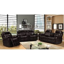 Reclining Sofa Set Vivienne Brown Leather Air 3 Pc Reclining Sofa Set With