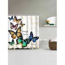 Cloth Shower Curtains Butterfly Print Fabric Shower Curtain For Bathroom Beige W Inch