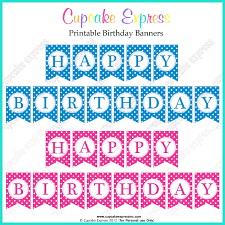 free printable happy birthday banners pink blue free printables