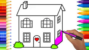 cute baby doll house coloring pages learn colors and drawing for