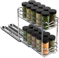 kitchen cabinet pull out storage racks pull out spice rack organizer for cabinet heavy duty slide out rack 4 3 8 w x10 3 8 d x 8 7 8 h for kitchen cabinets and pantry closet