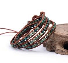 leather wrap bracelet men images Men bracelet african stones 3 strands leather wrap bracelets jpg