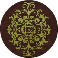 Green And Brown Area Rugs Chandra Venetian Brown Green 7 Ft 9 In Indoor Round Area Rug