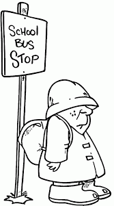 student waiting at bus stop coloring pages student waiting