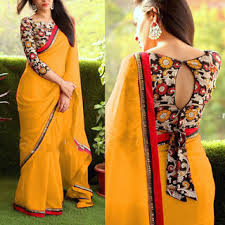 printed blouse shiwaye yellow georgette printed saree with blouse buy shiwaye