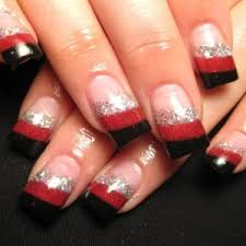 french tip nails with design nailspedia