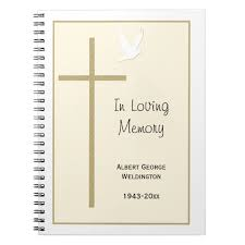 memorial guest book memorial funeral guest book notebook cross dove zazzle