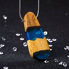 handmade necklace pendants images Resin necklaces pendants wood blue secret necklace wood for women jpg
