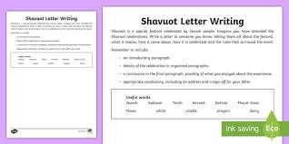shavuot letter writing activity sheet shavuot 30 5 17