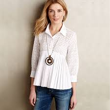 pleated blouse white sleeve lace patch pleated hem blouse 15bl00039