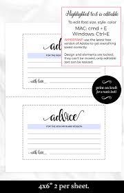 advice cards advice card template wedding advice cards