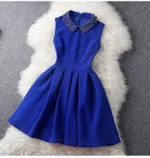 dress blue dress girls royal blue collar casual dresss blue