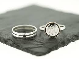 monogram ring silver nautical rope stacking monogram ring sterling knot