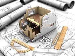 3d illustration of a two story house plan and drawings stock photo