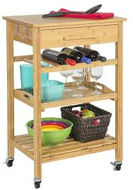 bamboo kitchen island rolling bamboo kitchen island storage bakers cart wine rack w