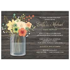 invitations rustic floral wood mason jar