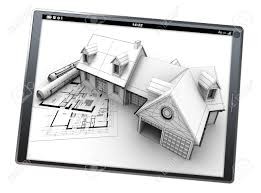 3d rendering of a tablet pc with a house artificial model on 3d rendering of a tablet pc with a house artificial model on top of blueprints stock