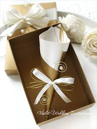 handmade invitations 10 boxed handmade wedding invitation scrolls gold ivory