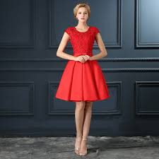 red knee length formal dress color dress style