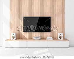 smart tv set mockup hanging on stock illustration 614253470