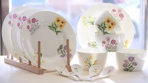 sale 12 set bone china tableware flower painting
