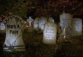 three piece tombstone kit halloween decorations graveyard fence