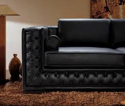 Black Tufted Sofa by Dublin Luxurious Black Leather Sofa Set