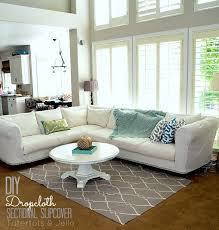 How To Make Slipcover For Sectional Sofa Make A Dropcloth Sofa Sectional Slipcover Tatertots And Jello