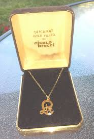 gold necklace box images Vintage 70s nicolo brecci 14k gold filled love w diamond pendant jpg