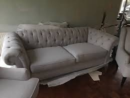 next grey gosford buttoned chesterfield style sofa u0026 2 armchairs