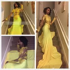 2k17 new black girls illusion yellow long sleeves satin mermaid