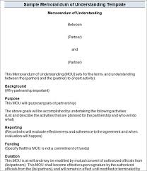 memorandum of understanding templates mou templates creative