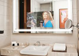 tv in the mirror bathroom mirrorvue mirror tv completely vanishing mirror tv 4k uhd tv
