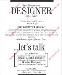 Required Art Director Graphic Designer  Senior Graphic Designer - Graphic designer jobs from home