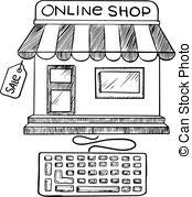 store sketch with shop signboard facade of store with eps