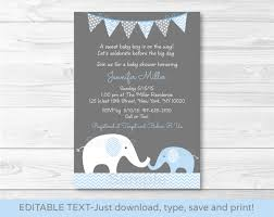 Create Own Invitation Card Elephant Baby Shower Invitation Kawaiitheo Com