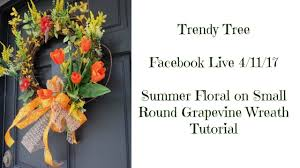 2017 small round grapevine wreath with summer florals tutorial by