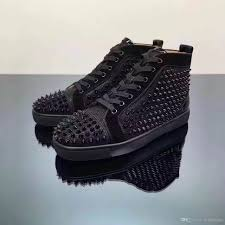 luxury brand red bottom high top black glitter leather spikes
