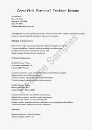 personal trainer resume objective personal trainer resume template 65 images fax cover letter