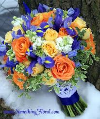 wedding flowers queanbeyan orange yellow blue and white bridal bouquet featuring roses