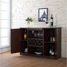 Walnut Wine Cabinet Wine Bar Buffet And Storage Cabinet With Center Glass And Wine