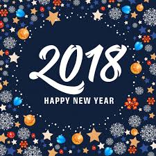 happy new year 2018 lettering and balls vector free