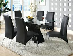 dining table and 6 black leather chairs room sale wooden modern