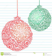 sketchy christmas ornaments notebook doodles stock photo image