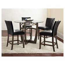 5 piece counter height dining table set wood black steve silver