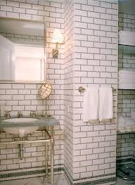 Blue And Black Bathroom Ideas by Floor To Ceiling Subway Tile Dark Grout And Open Glass Shelving