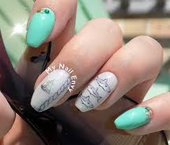 green nautical shark nails u2013 my nail envy
